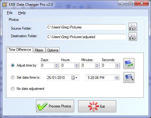 Compensate for wrong time on your digital images by adjusting EXIF date/time.